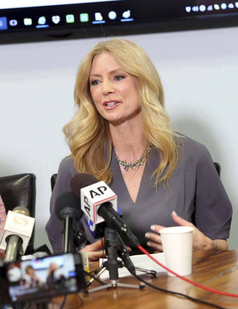 """Former Fox News contributor Wendy Walsh appears at a news conference in the Woodland Hills section of Los Angeles on Monday, April 3, 2017. Walsh says she lost a segment on """"The O'Reilly Factor"""" after she refused to go to host Bill O'Reilly's bedroom foll"""
