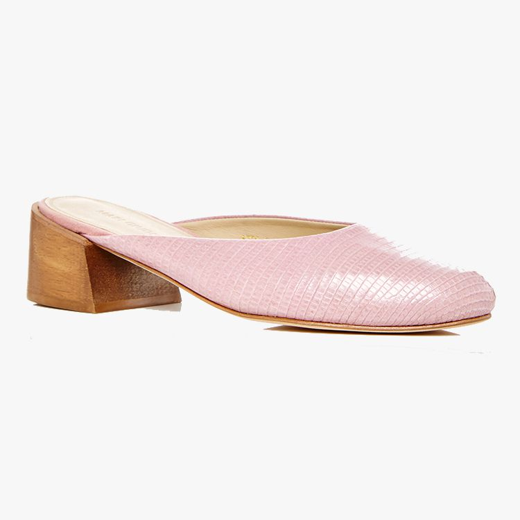 Pink snakeskin mules with a wooden block heel