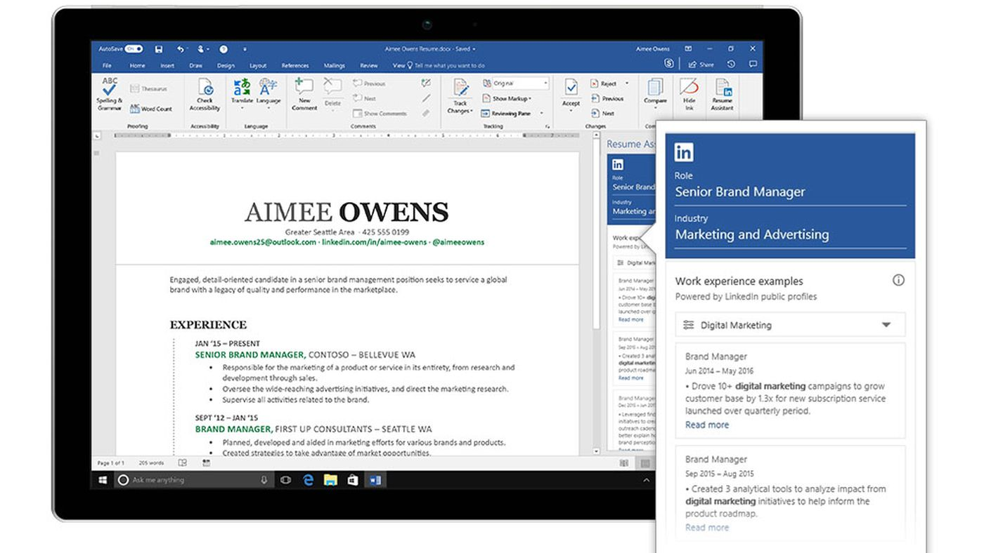 microsoft integrates linkedin with word to help you write a resume