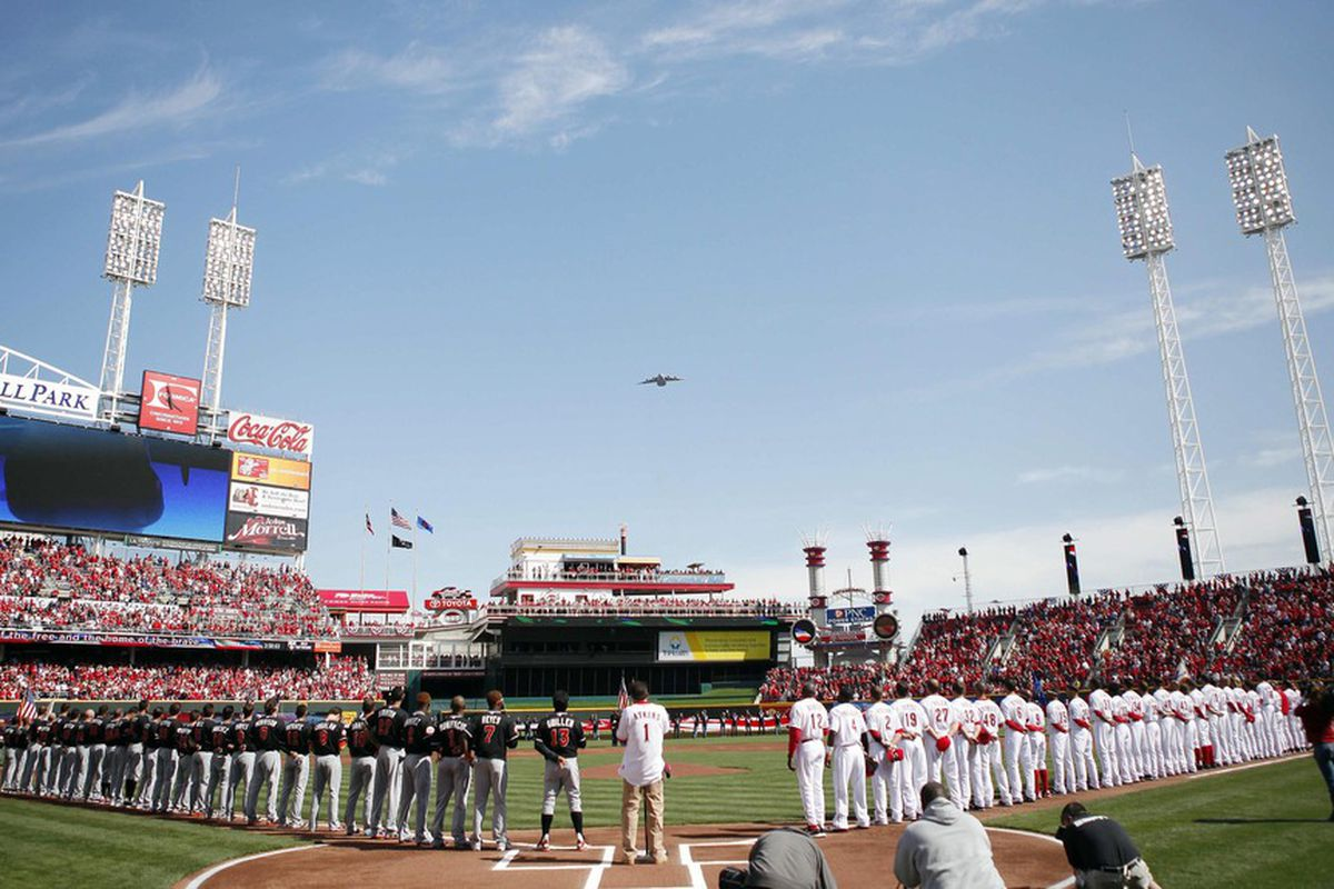 Apr 5, 2012; Cincinnati, OH, USA; A general view of a flyover during the playing of the national anthem before the game between the Cincinnati Reds and Miami Marlins at Great American Ballpark. Mandatory Credit: Frank Victores-US PRESSWIRE