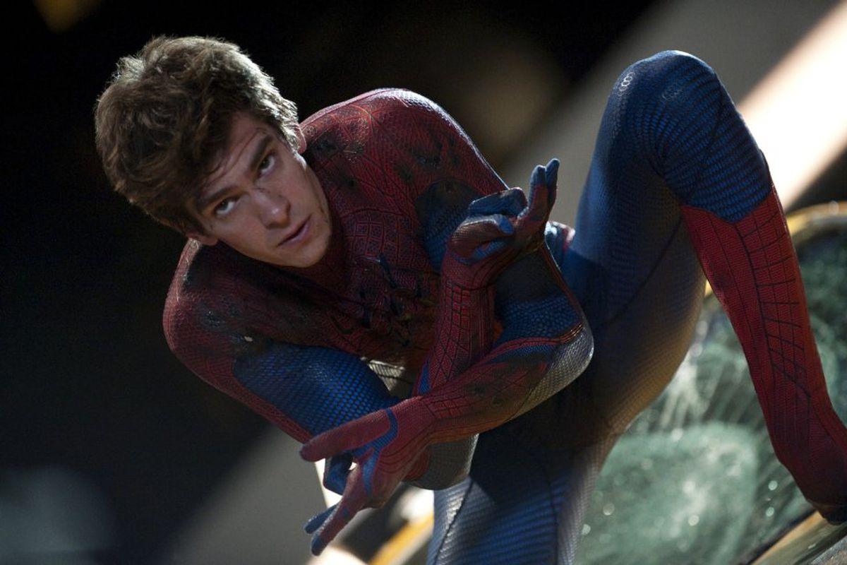 Andrew Garfield as Spider-Man.
