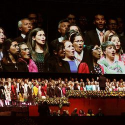 A conference choir sings during a Latin America Ministry Tour devotional in Bogota, Colombia on Sunday, Aug. 25, 2019.