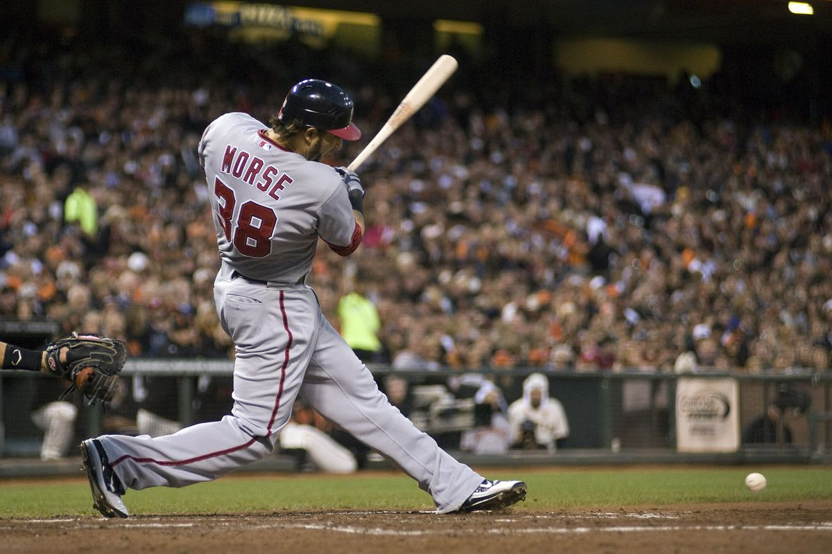 August 13, 2012; San Francisco, CA, USA; Washington Nationals right fielder Michael Morse (38) hits an RBI single during the third inning at AT&T Park.  Mandatory Credit: Ed Szczepanski-US PRESSWIRE