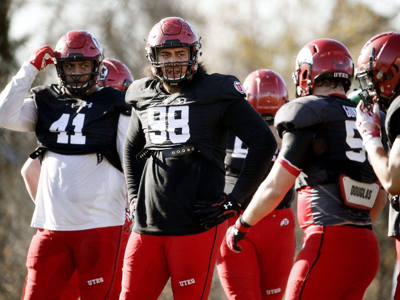Utah Utes defensive tackle Viane Moala (98) practices at the Spence and Cleone Eccles Football Center in Salt Lake City on Thursday, March 5, 2020.
