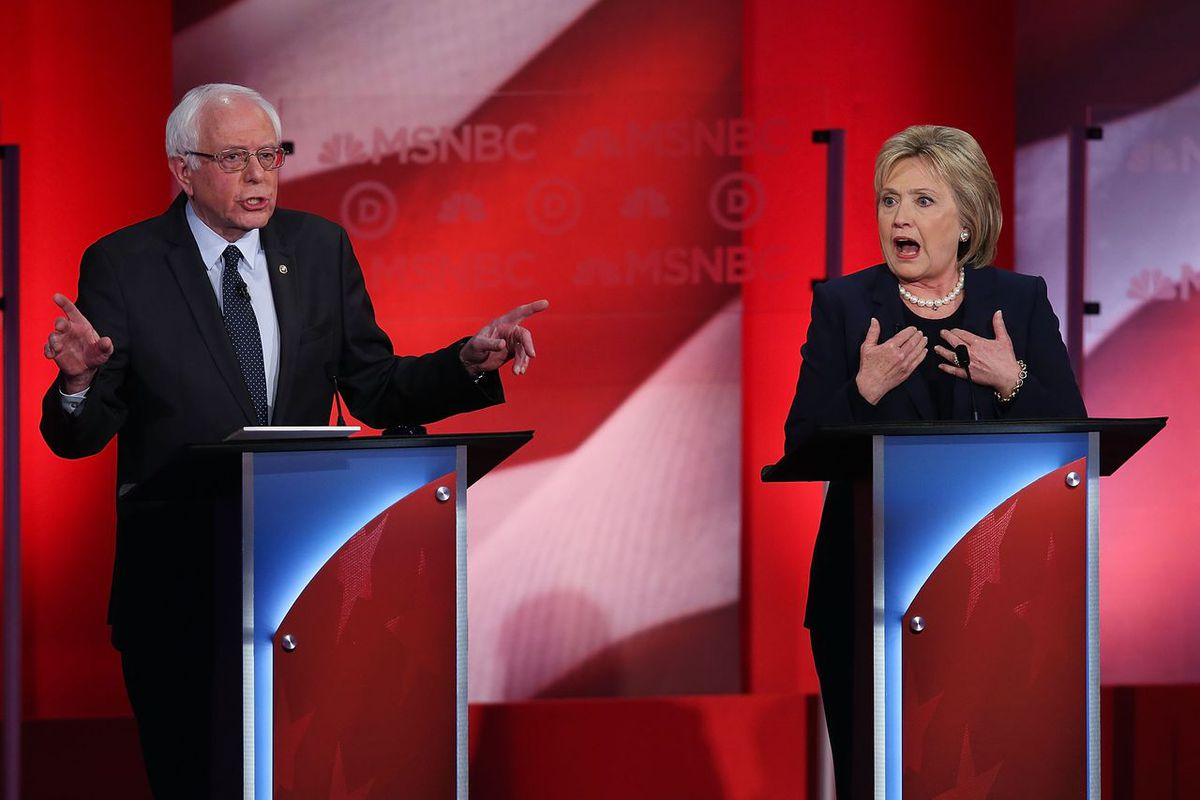 The Democratic presidential candidates debate in New Hampshire. Justin Sullivan / Getty Images