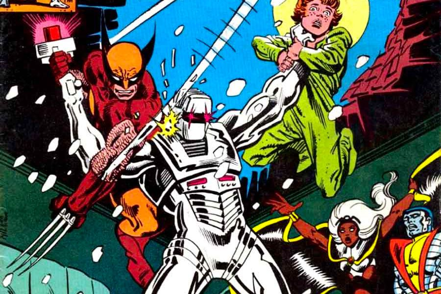 ROM, an armored space knight, holds a child aloft by its neck, as Wolverine battles him futilely. Storm and Colossus look on in horror on the cover of an issue of Rom Spaceknight, Marvel Comics.