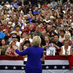 Democratic presidential candidate Hillary Clinton speaks at a rally, Monday, June 6, 2016, in Long Beach, Calif.