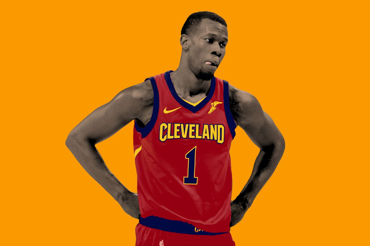 Rodney Hood standing in a Cavaliers uniform with his hands on his hips