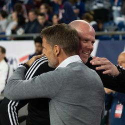 FOXBOROUGH, MA - APRIL 13: Atlanta United FC head coach Frank de Boer greets New England Revolution head coach Brad Friedel prior to the match between New England and Atlanta at Gillette Stadium on April 13, 2019 in Foxborough, Massachusetts. (Photo by J. Alexander Dolan - The Bent Musket)