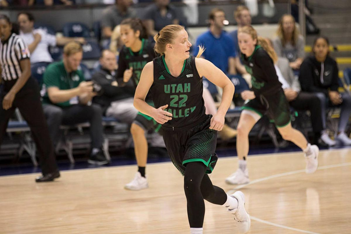 Utah Valley senior guard Taylor Christensen makes her way down the court in the squad's contest at BYU on Nov. 21. Christensen nailed the go-ahead basket Thursday night in the Wolverines' 59-56 comeback victory over Air Force in an eight-point turnaround