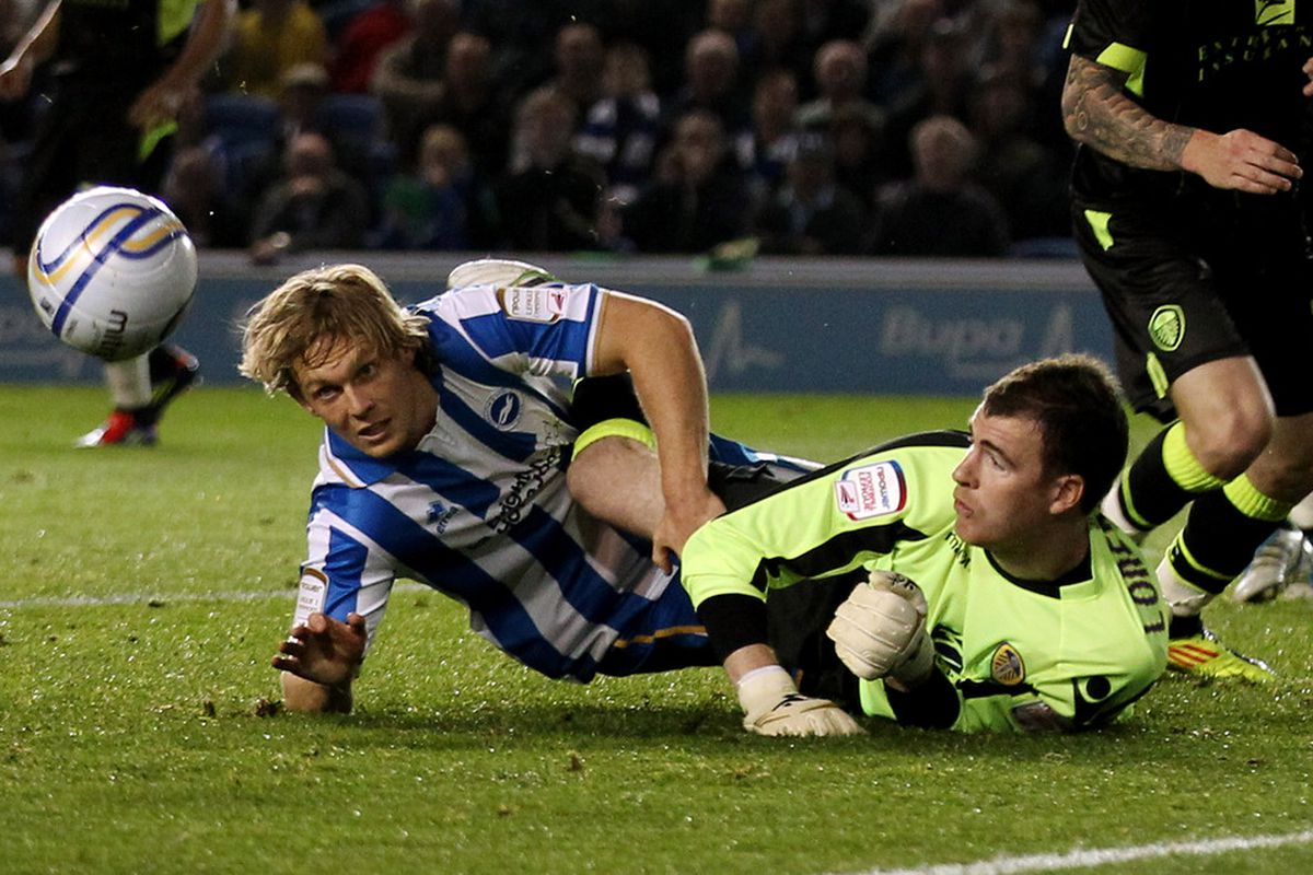 Andy Lonergan clashing with Brighton's Craig Mackail-Smith when his form was first class for the Whites. (Photo by Scott Heavey/Getty Images)