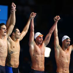 Yannick Agnel, Florent Manaudou Fabien Gilot and Jeremy Stravius of France celebrate after the Swimming Men's 4x100m Freestyle