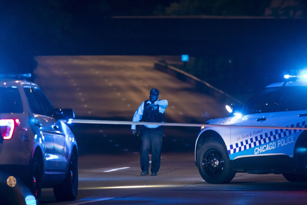 Chicago police investigate early Sunday in the southbound lanes of Lake Shore Drive near Roosevelt Road, were officials said a 20-year-old man was shot.