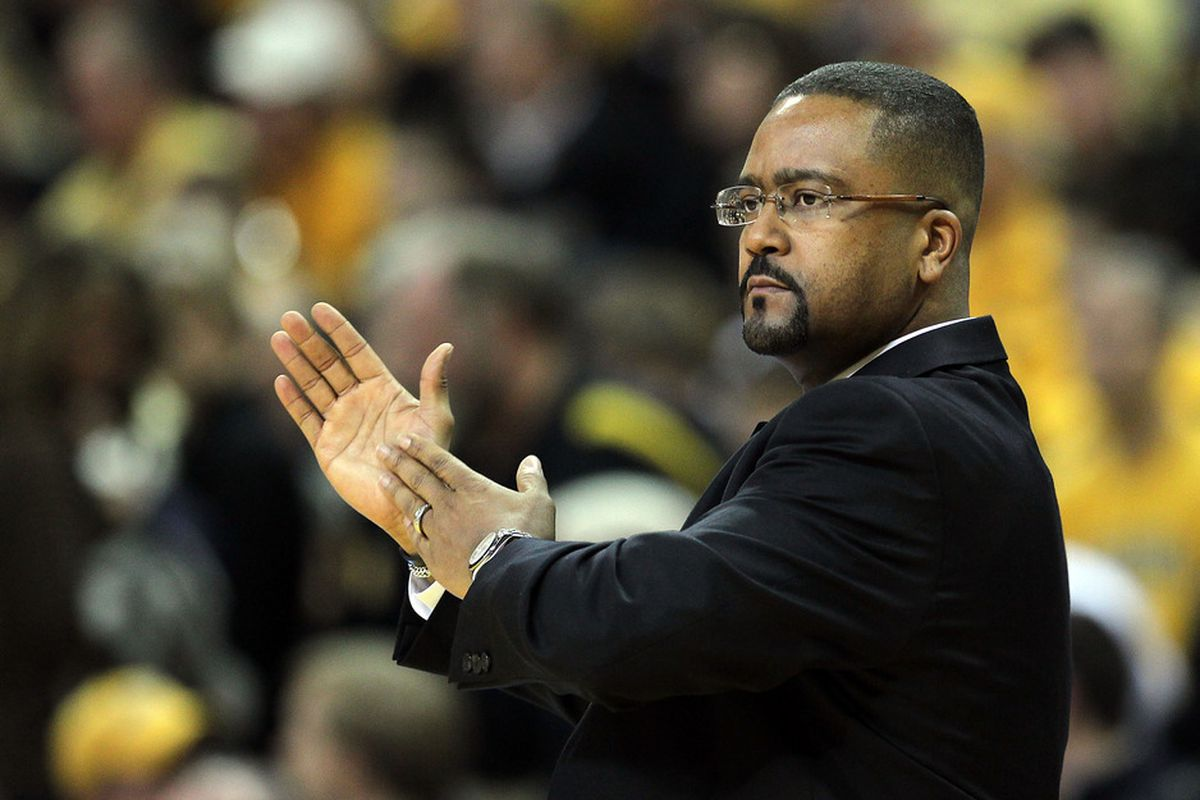 COLUMBIA, MO - FEBRUARY 11:  Head coach Frank Haith of the Missouri Tigers coaches from the bench during the game against the Baylor Bears on February 11, 2012  at Mizzou Arena in Columbia, Missouri.  (Photo by Jamie Squire/Getty Images)