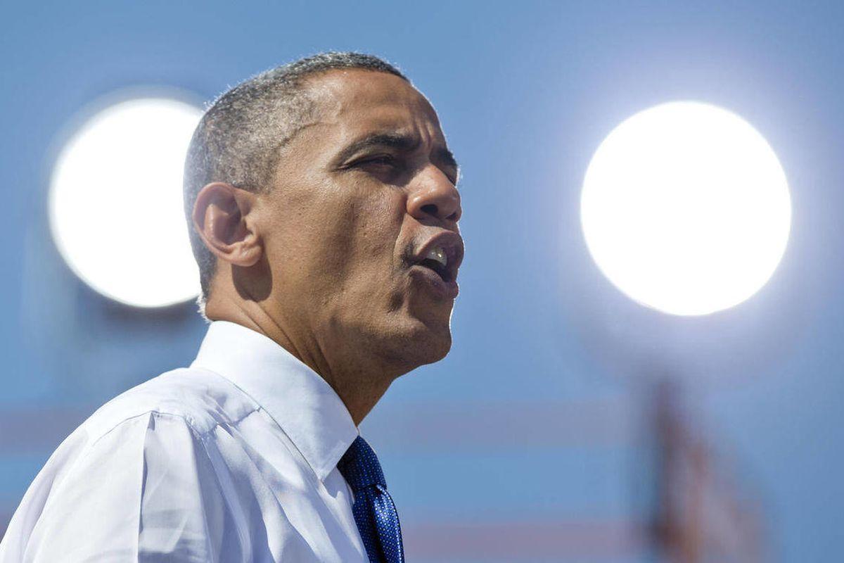 President Barack Obama speaks at a campaign event at  G. Richard Pfitzner Stadium, Friday, Sept. 21, 2012, in Woodbridge, Va.