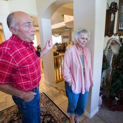 Rex and Linda Garfield, of Mona, talk about how they were defrauded of their retirement savings by investment adviser Tom Andrews on Tuesday, Sept. 13, 2016.