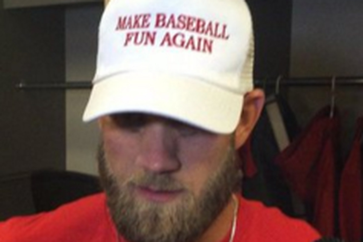 3760f6f224bd Bryce Harper wears 'MAKE BASEBALL FUN AGAIN' hat - SBNation.com