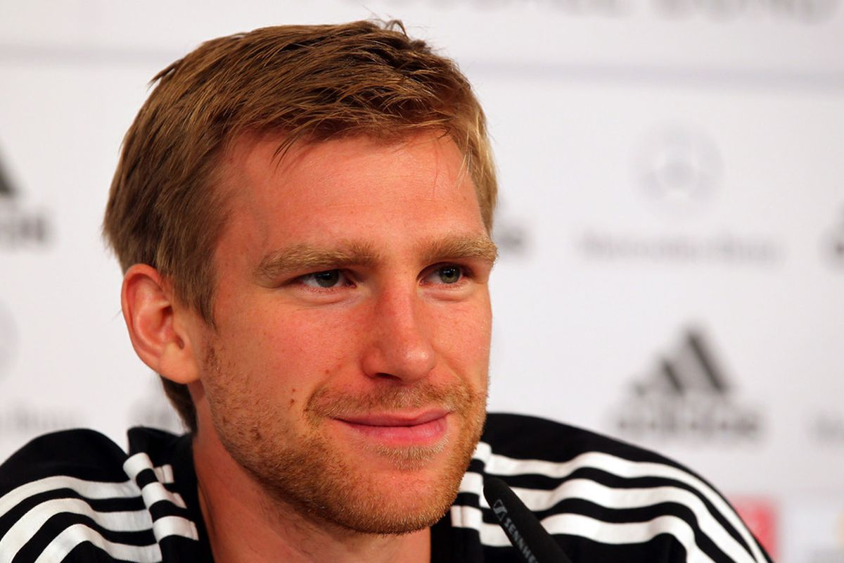 Per Mertesacker is all smiles now, but Stephane Sessegnon is coming to town, and Adrian Clarke  is fearful for the German.