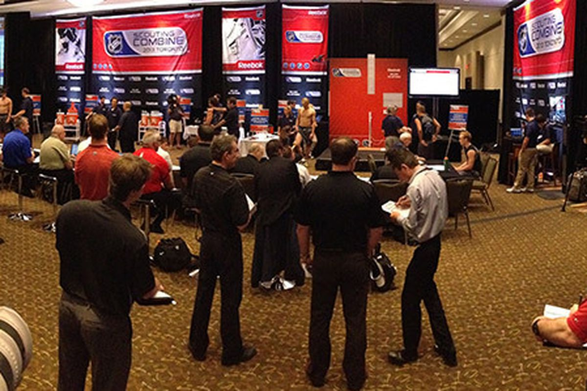 NHL team staffers gather 'round during the annual Scouting Combine in Toronto during the last week of May. Photo courtesy of -