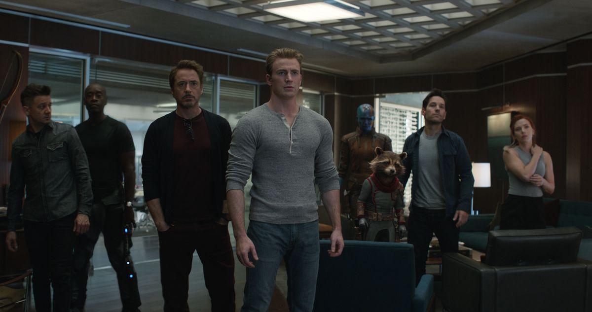 Hawkeye/Clint Barton (Jeremy Renner, from left), War Machine/James Rhodey (Don Cheadle), Iron Man/Tony Stark (Robert Downey Jr.), Captain America/Steve Rogers (Chris Evans), Nebula (Karen Gillan), Rocket (voiced by Bradley Cooper), Ant-Man/Scott Lang (Pau