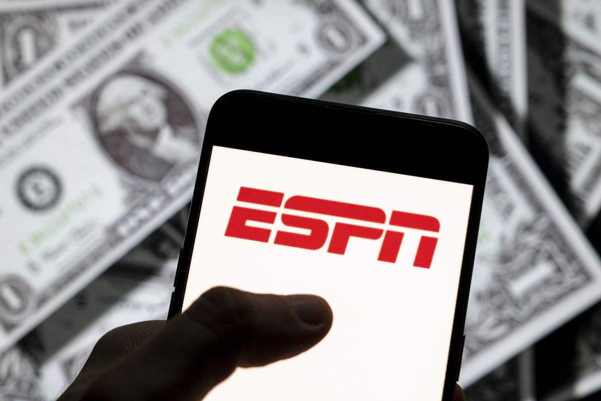 In this photo illustration, the American sports television...