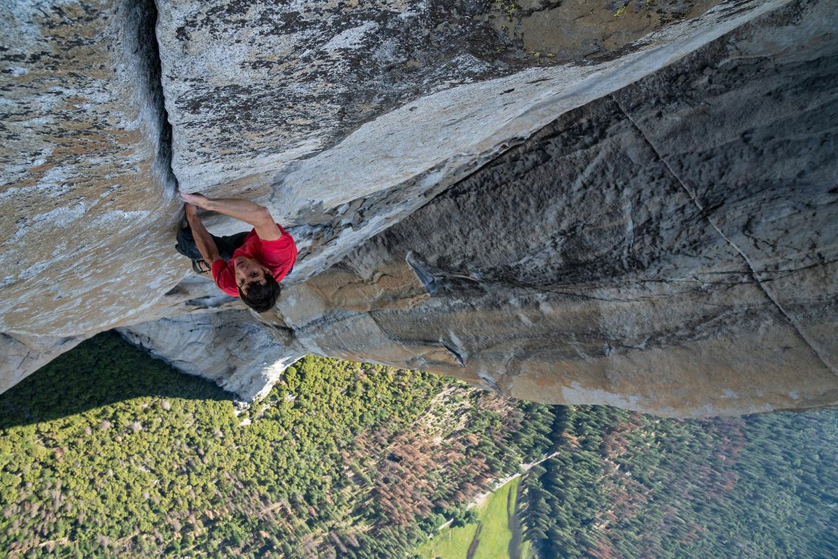 Alex Honnold on a seemingly sheer rock face.