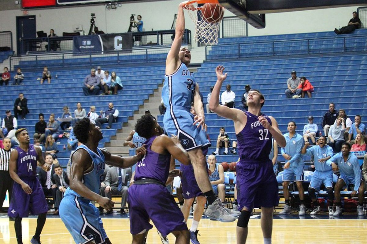 Zane Najdawi dunks to bring the crowd to its feet in the late-going against Furman/Photo Courtesy The Citadel Athletics