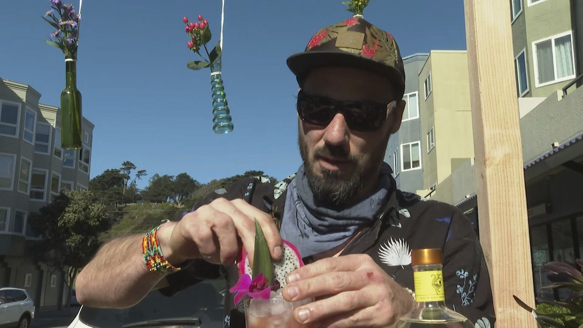 Mixologist Joshua James prepares an alcohol-free cocktail at his zero-proof bar Ocean Beach Cafe in San Francisco.