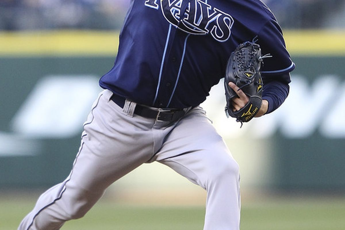Starting pitcher Andy Sonnanstine of the Tampa Bay Rays pitches against the Seattle Mariners at Safeco Field in Seattle, Washington. (Photo by Otto Greule Jr/Getty Images)