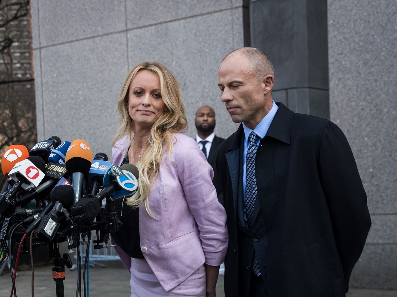 Stormy Daniels and Michael Avenatti as they exit the United States District Court in the Southern District of New York in April 2018.