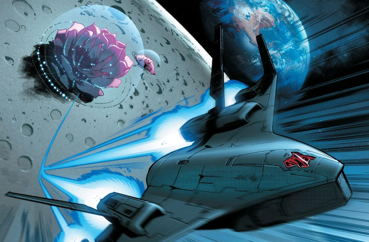The X-Men's Blackbird warplane rockets out of their moon base in House of X #3, Marvel Comics (2019).