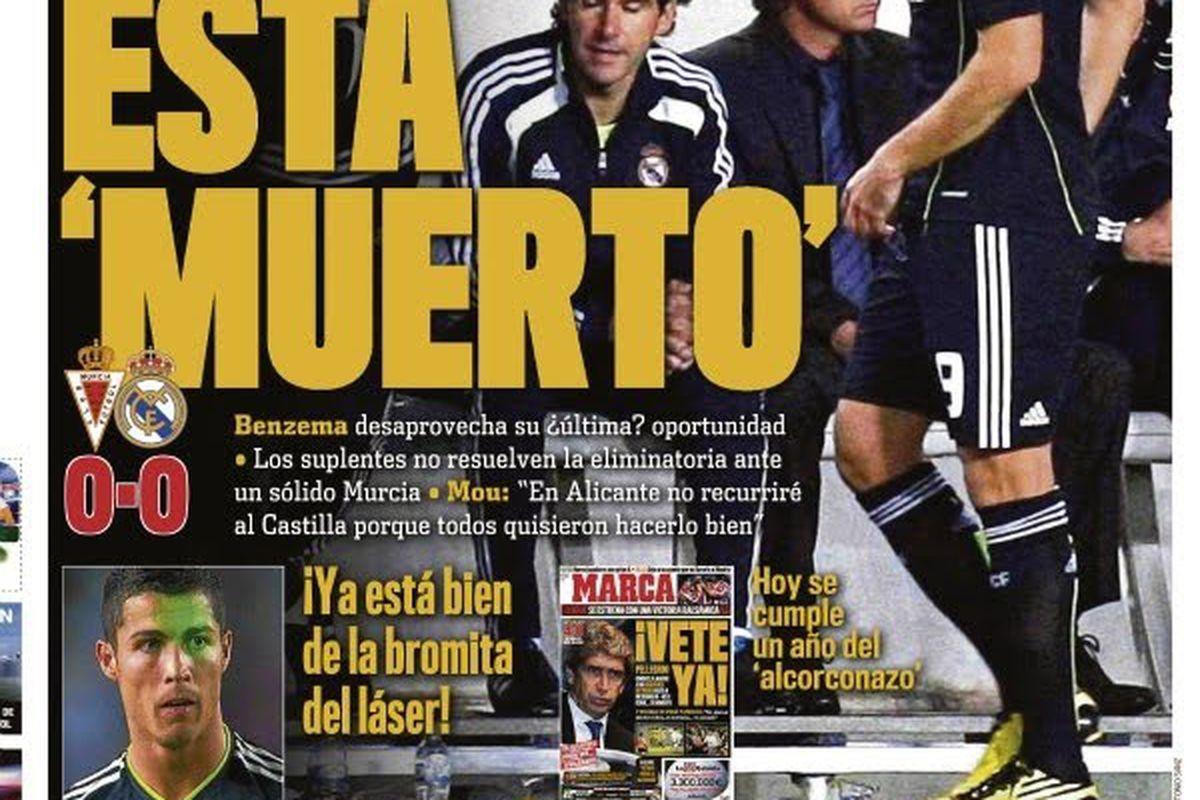 'He's dead'. Marca's headline for Karim Benzema last year.