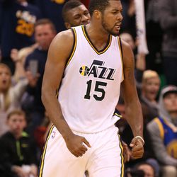 Utah Jazz forward Derrick Favors (15) and the Jazz fell to the Golden State Warriors 106-103 to open the season with 19 straight wins in NBA basketball Monday, Nov. 30, 2015, in Salt Lake City.