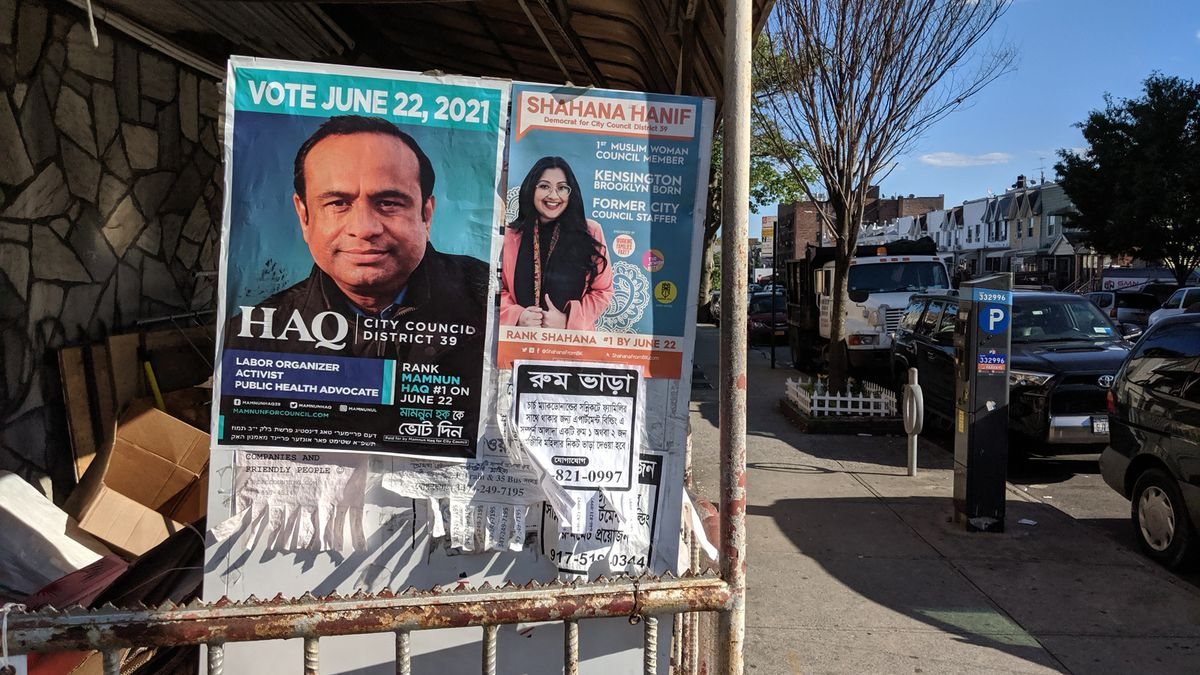 City Council candidates Mamnun Haq and Shahana Hanif were running against each other in Kensington, Brooklyn, May 31, 2021.
