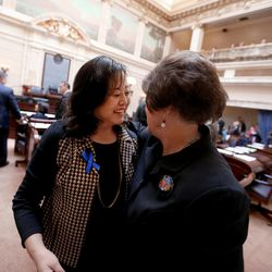 Sen. Jani Iwamoto, D-Holladay, and Sen. Margaret Dayton, R-Orem, greet one another at the first day of the Utah Legislature at the Capitol in Salt Lake City on Monday, Jan. 25, 2016.