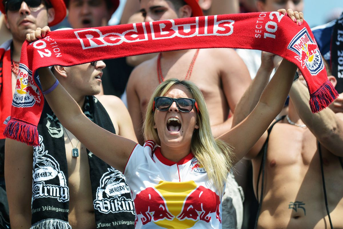 Red Bulls faithful came out in force in Philadelphia last week, and they'll have to make a lot of noise again Saturday night as 30-40,000 are expected at Montreal's Olympic Stadium (Photo by Drew Hallowell/Getty Images).