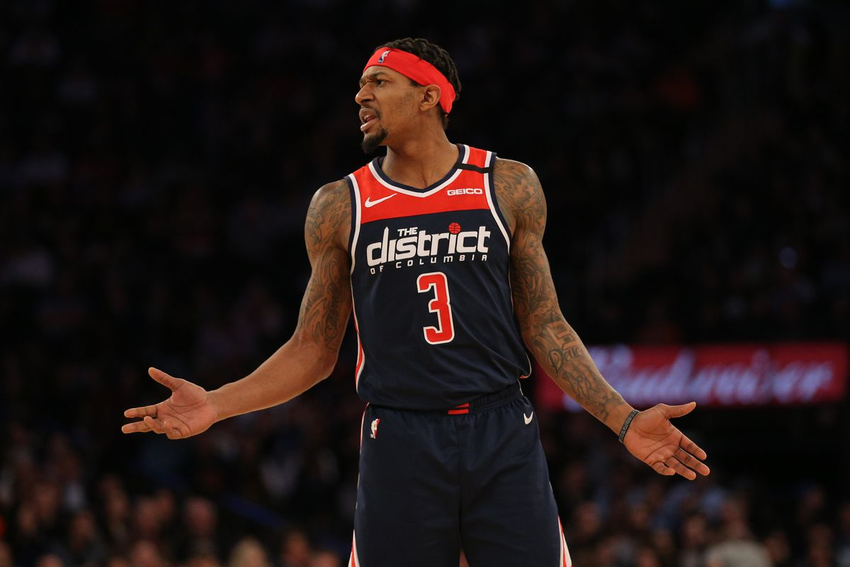 Washington Wizards shooting guard Bradley Beal reacts during the fourth quarter against the New York Knicks at Madison Square Garden.