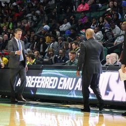 The handshake after a battle that Eastern Michigan won 92 to 60.<br>
