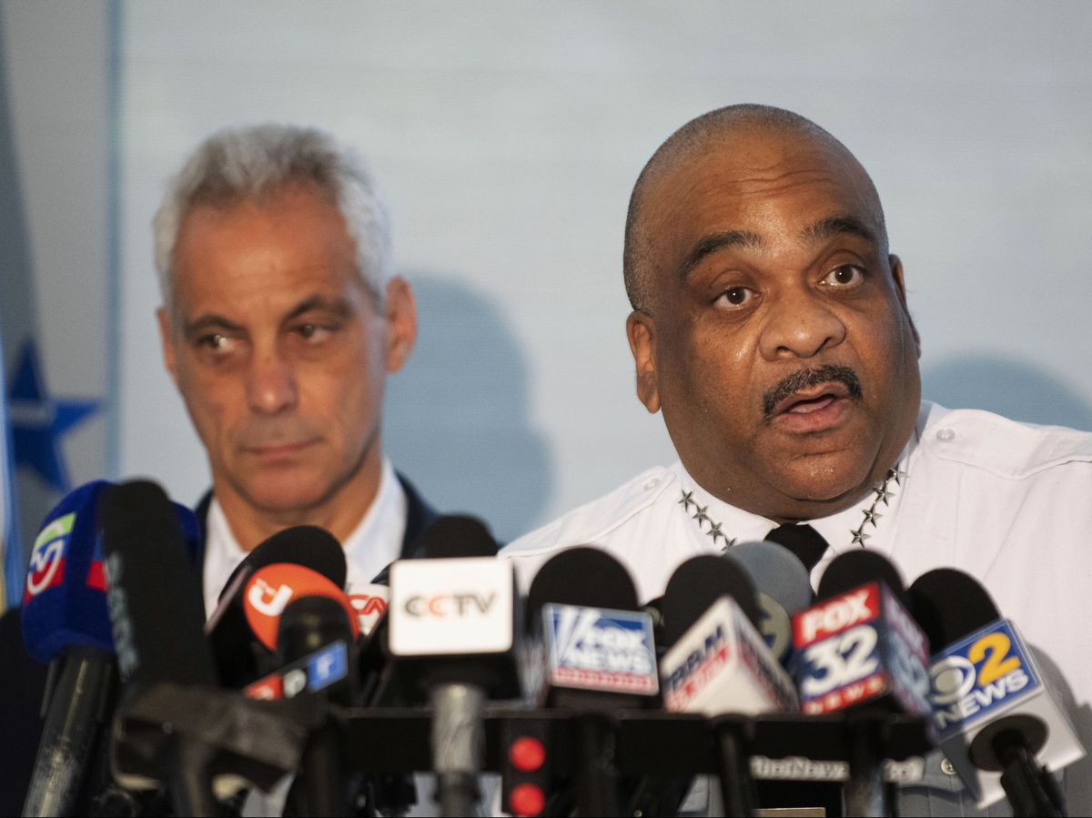 Chicago Police Supt. Eddie Johnson, with Mayor Rahm Emanuel, left, speaks at a news conference last week. File Photo. | Colin Boyle/Chicago Sun-Times
