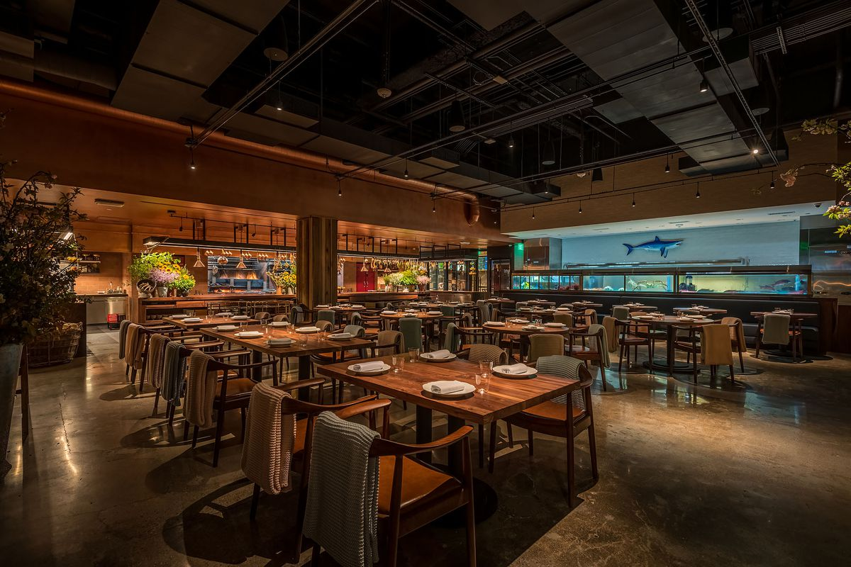 Angler restaurant dining room in Beverly Hills