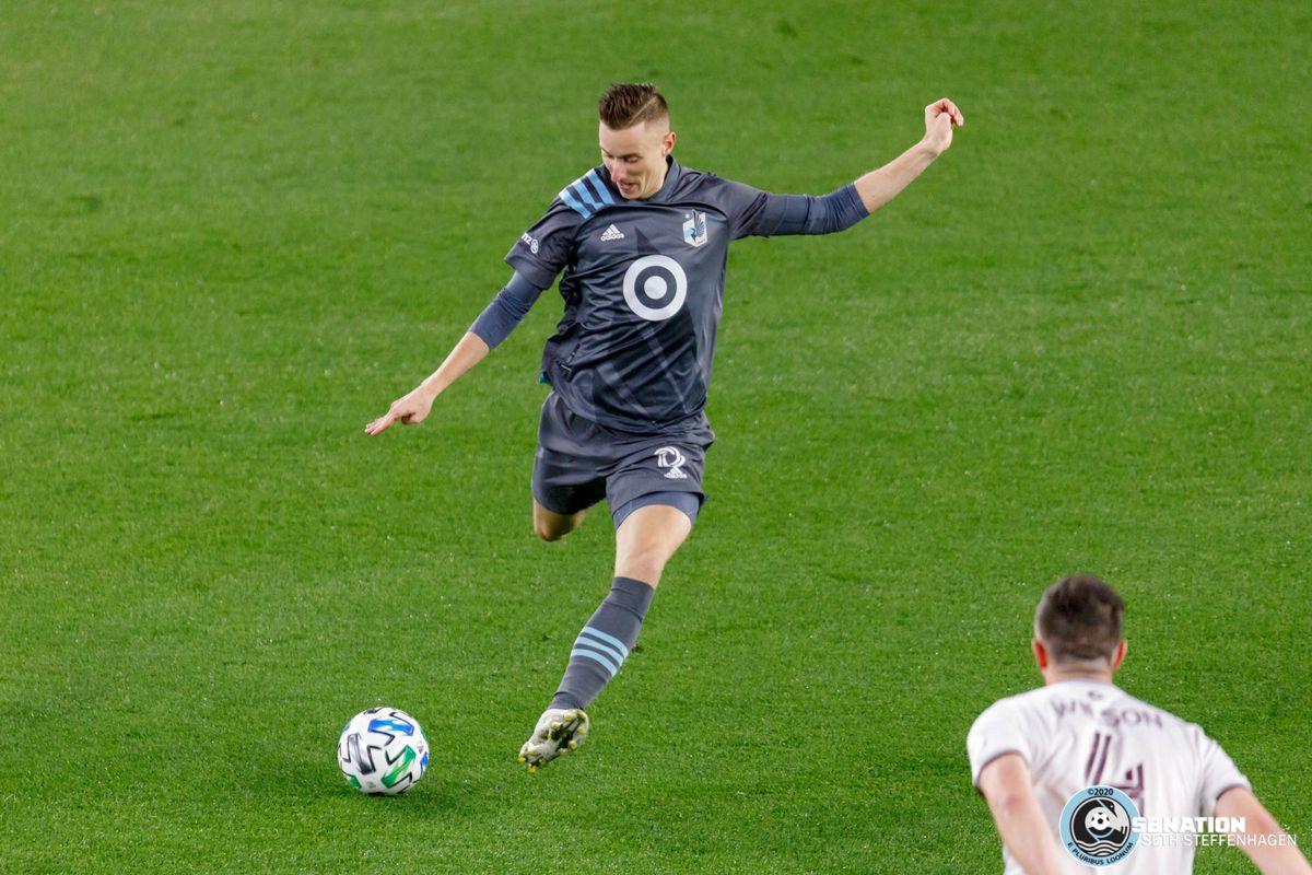 October 28, 2020 - Saint Paul, Minnesota, United States - Minnesota United midfielder Ján Greguš (8) kicks the ball during the match against the Colorado Rapids at Allianz Field