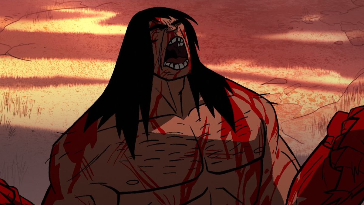 Spear the cavemen, covered in blood, roars in Primal