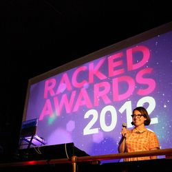 Racked editorial director Izzy Grinspan congratulates the winners.