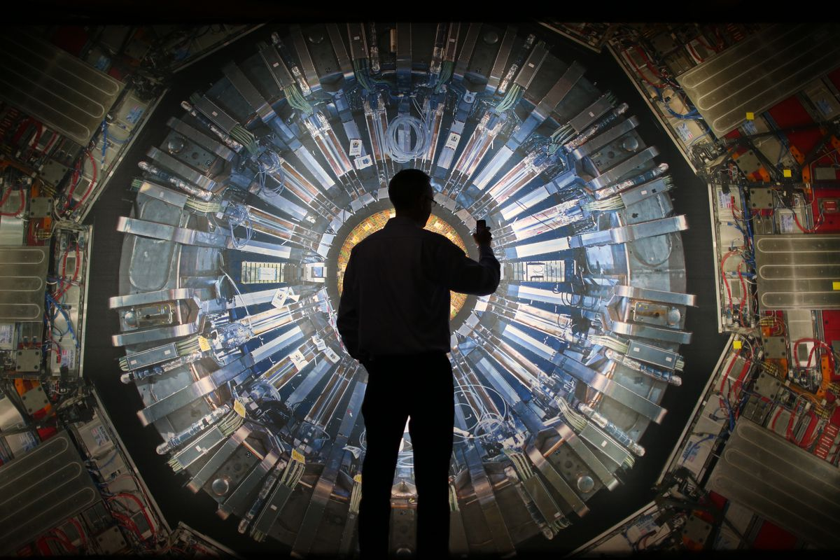 A visitor to the Large Hadron Collider, the particle accelerator where the new particles were observed.