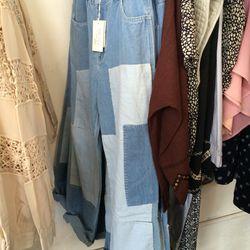 Patchwork jeans, $204
