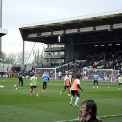 Fulham Players Warming Up