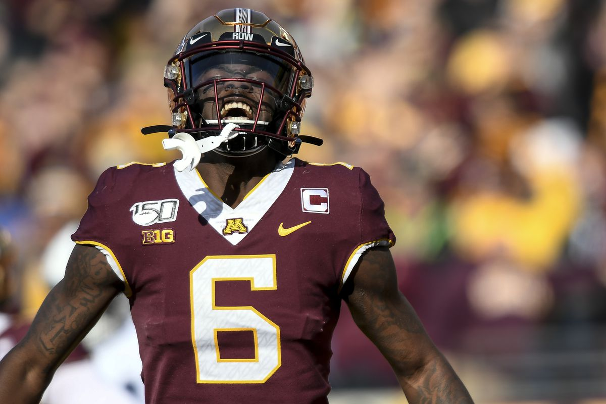 Minneapolis, MN-November 8: Minnesota Gophers wide receiver Tyler Johnson celebrated a touchdown by wide receiver Chris Autman-Bell in the first half.