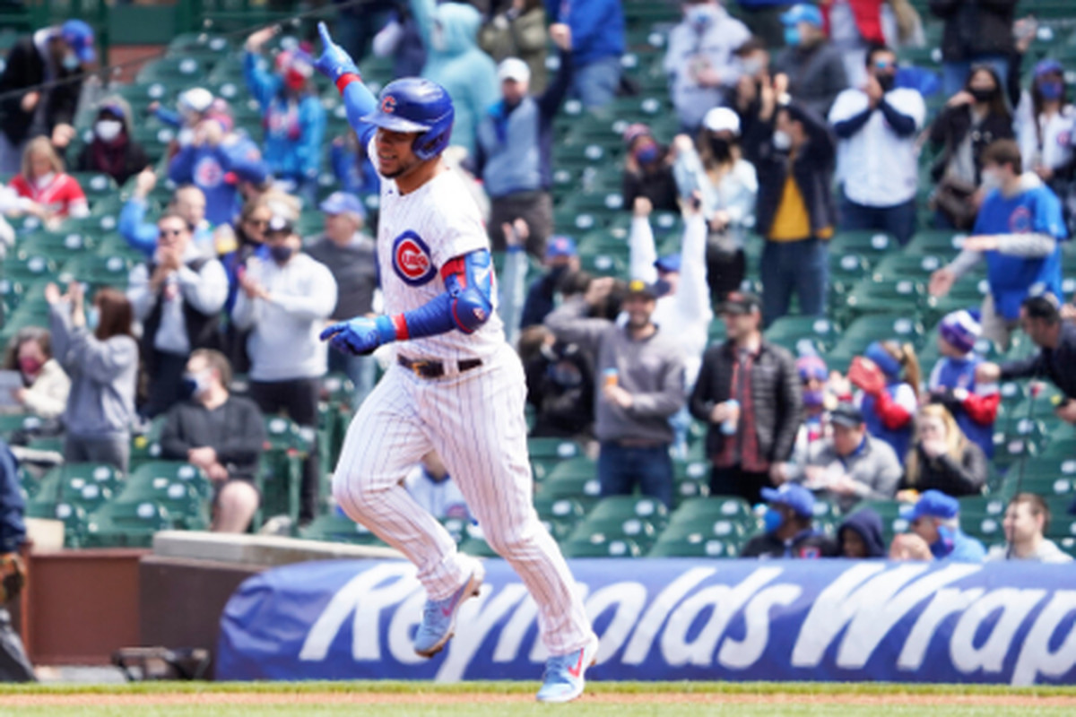Cubs catcher Willson Contreras homered in his first two at-bats Saturday against the Braves at Wrigley Field.
