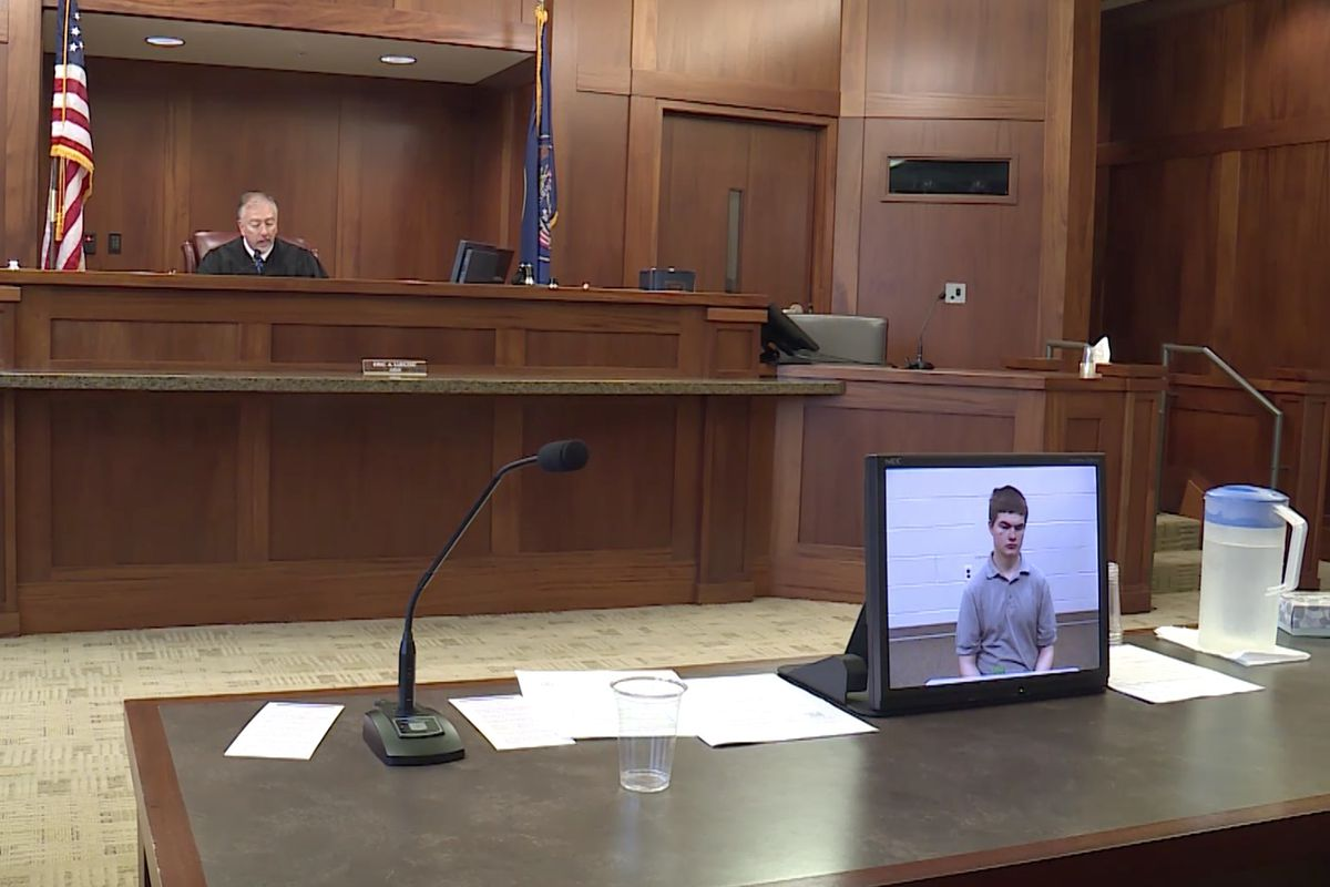 Martin Ryan Farnsworth, 16, appears in 5th District Court in St. George on Tuesday, July 31, 2018, over a video feed. A southern Utah teenager has pleaded not guilty to charges he tried to set off a homemade backpack bomb at a St. George high school.
