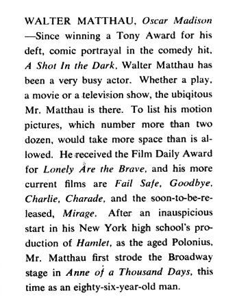 A selected portion of Walter Matthau's Playbill biography.
